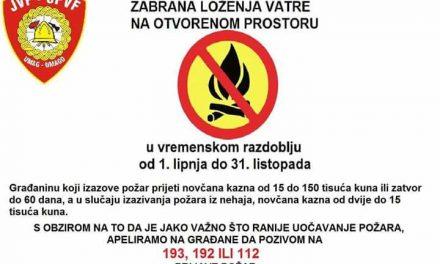 Obavijest o zabrani loženja vatre na otvorenom prostoru